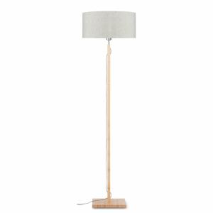 Stojací lampa se světle béžovým stínidlem a konstrukcí z bambusu Good&Mojo Fuji
