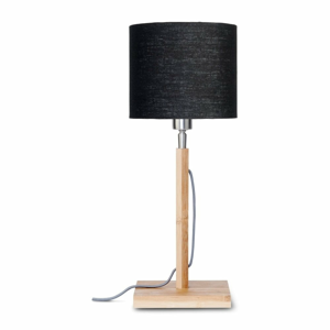 Stolní lampa s černým  stínidlem a konstrukcí z bambusu Good&Mojo Fuji