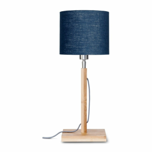 Stolní lampa s modrým  stínidlem a konstrukcí z bambusu Good&Mojo Fuji