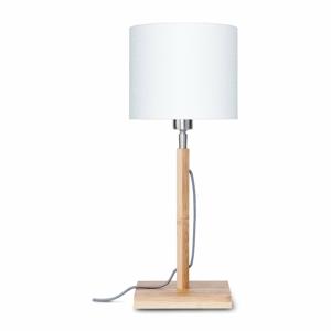 Stolní lampa s bílým stínidlem a konstrukcí z bambusu Good&Mojo Fuji