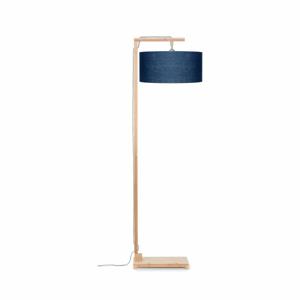 Stojací lampa s modrým  stínidlem a konstrukcí z bambusu Good&Mojo Himalaya