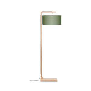 Stojací lampa se zeleným stínidlem a konstrukcí z bambusu Good&Mojo Himalaya