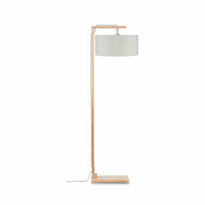 Stojací lampa se světle béžovým stínidlem a konstrukcí z bambusu Good&Mojo Himalaya