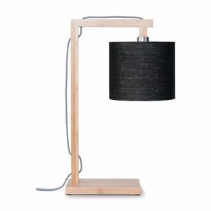 Stolní lampa s černým stínidlem a konstrukcí z bambusu Good&Mojo Himalaya