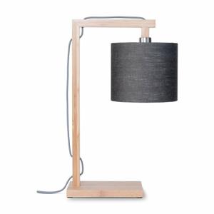 Stolní lampa s tmavě šedým stínidlem a konstrukcí z bambusu Good&Mojo Himalaya