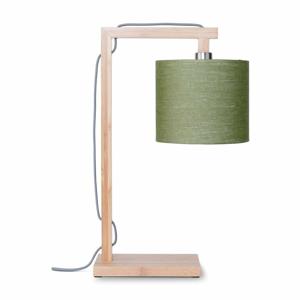 Stolní lampa se zeleným stínidlem a konstrukcí z bambusu Good&Mojo Himalaya