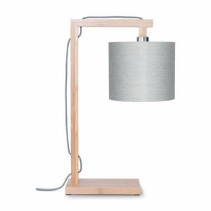 Stolní lampa se světle šedým stínidlem a konstrukcí z bambusu Good&Mojo Himalaya
