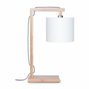Stolní lampa s bílým stínidlem a konstrukcí z bambusu Good&Mojo Himalaya
