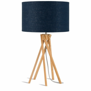 Stolní lampa s modrým stínidlem a konstrukcí z bambusu Good&Mojo Kilimanjaro
