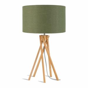 Stolní lampa se zeleným stínidlem a konstrukcí z bambusu Good&Mojo Kilimanjaro