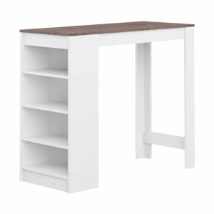 Bílý barový stůl s hnědou deskou TemaHome Aravis