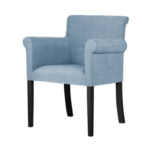 Světle modrá židle s černými nohami z bukového dřeva Ted Lapidus Maison Flacon