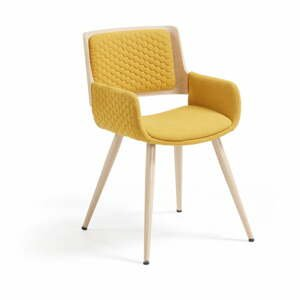Hořčicově žlutá židle s kovovým podnožím a područkami La Forma Andre
