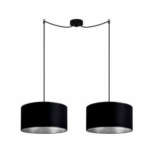 Černé dvojité stropní svítidlo s detaily ve stříbrné barvě Sotto Luce Mika Elementary