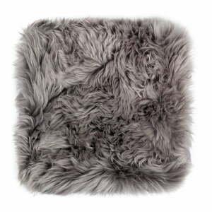 Šedý podsedák z ovčí kožešiny na jídelní židli Royal Dream Zealand, 40x40cm