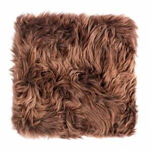 Tmavě hnědý podsedák z ovčí kožešiny na jídelní židli Royal Dream Zealand, 40x40cm