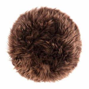 Tmavě hnědý podsedák z ovčí kožešiny na jídelní židli Royal Dream Zealand Round, ⌀ 35cm
