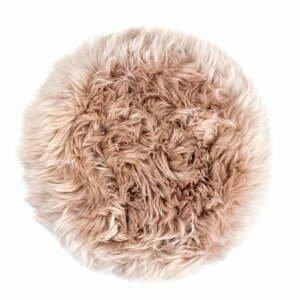 Světle hnědý podsedák z ovčí kožešiny na jídelní židli Royal Dream Zealand Round, ⌀ 35cm