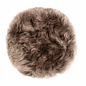 Hnědý podsedák z ovčí kožešiny na jídelní židli Royal Dream Zealand Round, ⌀ 35cm