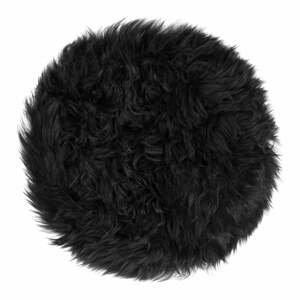 Černý podsedák z ovčí kožešiny na jídelní židli Royal Dream Zealand Round, ⌀ 35cm