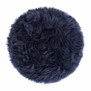 Tmavě modrý podsedák z ovčí kožešiny na jídelní židli Royal Dream Zealand Round, ⌀ 35cm