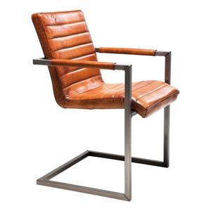 Hnědá kožená židle s područkami Kare Design Cantilever