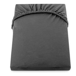 Tmavě šedé elastické džersejové prostěradlo DecoKing Amber Collection, 180 až 200 x 200 cm