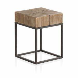 Dřevěná stolička na sezení s kovovými nohami Geese Robust,33 x 33 cm