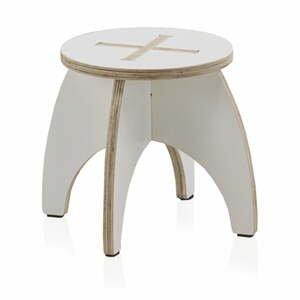 Bílá dětská stolička z překližky Geese Piper, ⌀ 30 cm