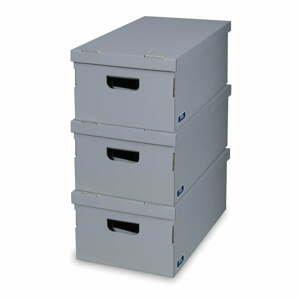 Sada 3 šedých úložných boxů Domopak Living