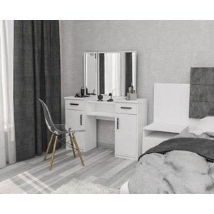 Moderní toaletní stolek - 3 zrcadla, 2 šuplíky a 2 skříňky