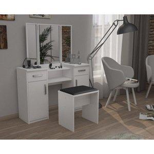 Moderní sestava taburet + toaletní stolek se 3 zrcadly