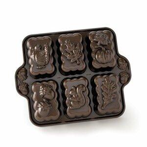Pečicí forma Nordic Ware plát se 6 formičkami Podzimní motivy, bronzová, 1,2 l