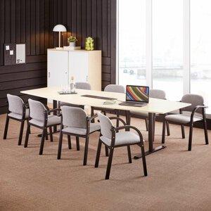 Židle s područkami Colborne, černá, šedý potah