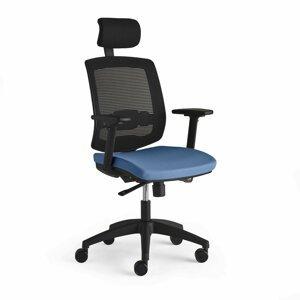Kancelářská židle Stanley, s područkami a opěrkou hlavy, světle modrá