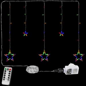 VOLTRONIC® 67311 Vánoční závěs - 5 hvězd, 61 LED, barevný + ovladač