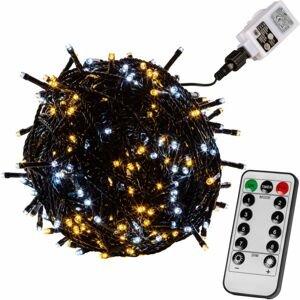 VOLTRONIC® 67610 Vánoční řetěz 60 m,600 LED,teple/stud.bílý+ovladač