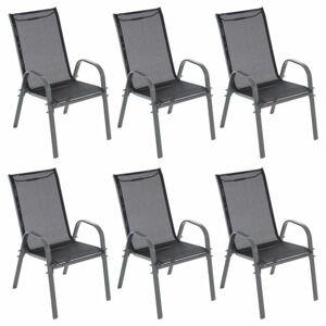 GARTHEN zahradní stohovatelné židle, černá/tm.šedá, 6 ks