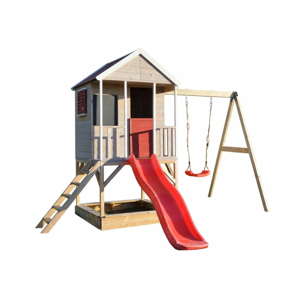 Dětský dřevěný domeček s houpačkou, 350 x 242 x 290 cm