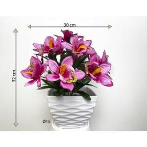 Umělá květina - orchidej v květináči - světle růžová, 32 cm