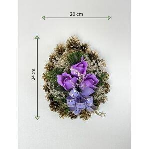 Smuteční květina ve tvaru srdce, malá, fialová