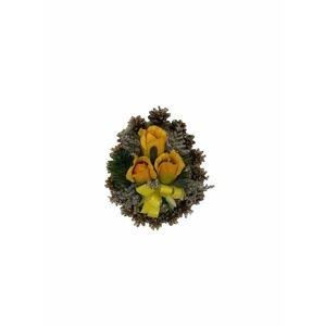Smuteční květina ve tvaru srdce, malá, žlutá