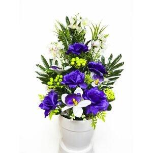 Umělá květina - růže v květináči - fialovo-modrá, 62 cm