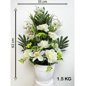 Umělá květina - růže v květináči - bílá, 62 cm