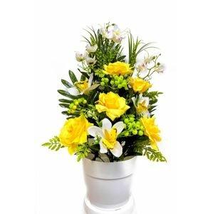 Umělá květina - růže v květináči - žlutá, 62 cm