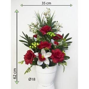 Umělá květina - růže v květináči - červená, 62 cm