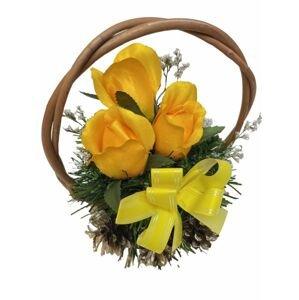Květinový košík střední velikosti, žlutý