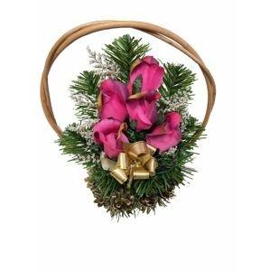 Květinový košík střední velikosti, růžový