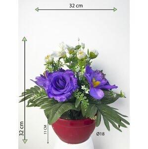 Dekorativní miska s umělou růží a orchidejí, modrá, 32 cm