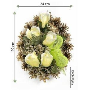 Smuteční květina ve tvaru srdce, střední, krémová